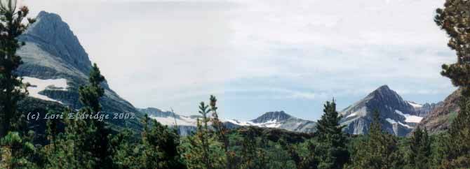 Panorama picture of Swift Current Mountain, Glacier Park Montana