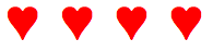 row of red hearts designed in CSS